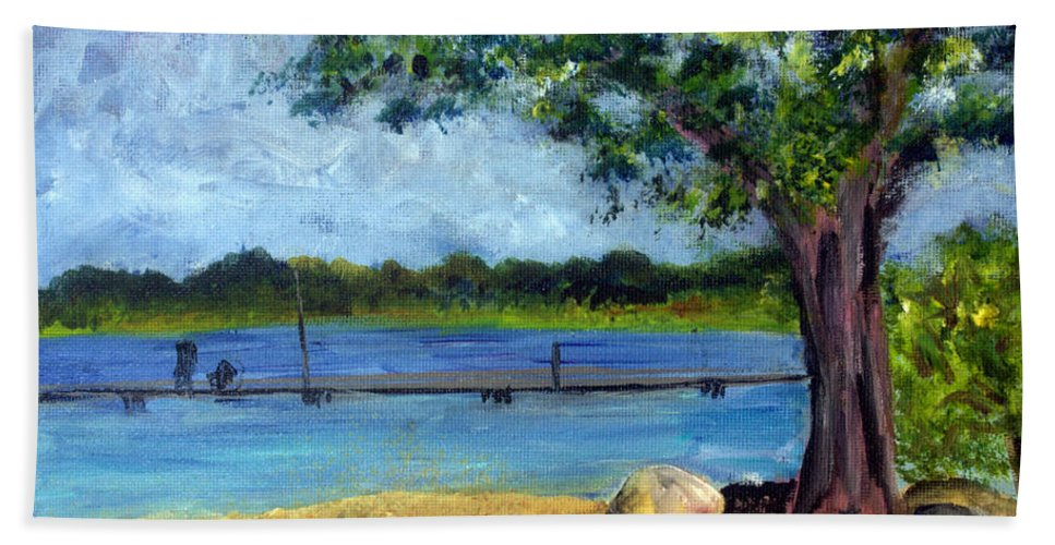 Beauty Hand Towel featuring the painting Marina At Ocean Inlet In Boynton Beach by Donna Walsh