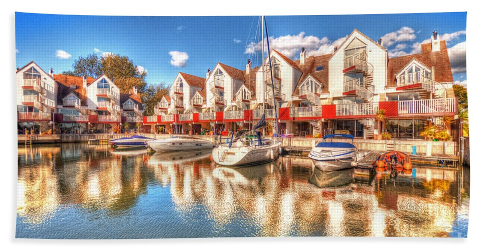 Reflections Hand Towel featuring the photograph Marina Reflections by Rob Hawkins