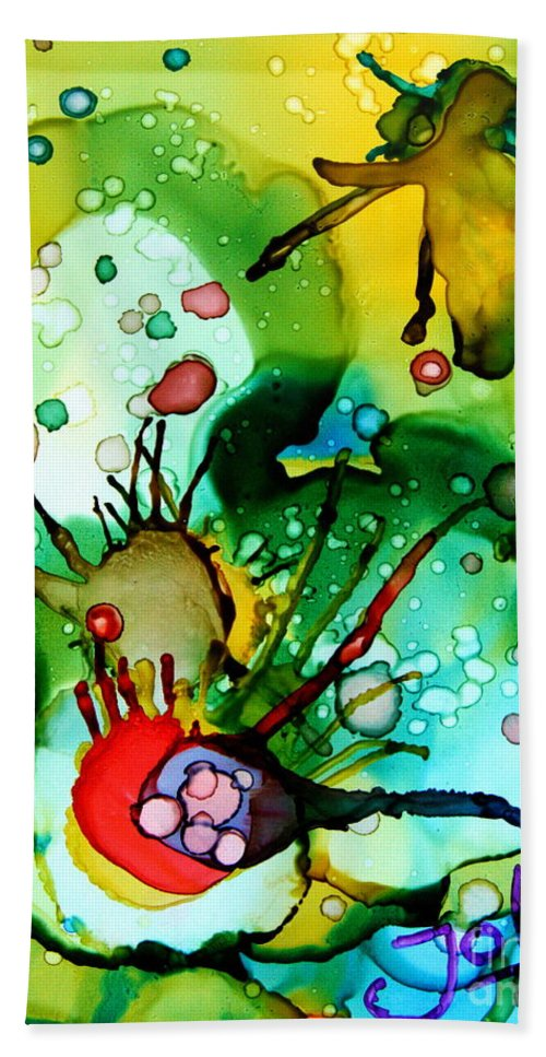 Marine Life Bath Sheet featuring the painting Marine Habitats by Jolanta Anna Karolska