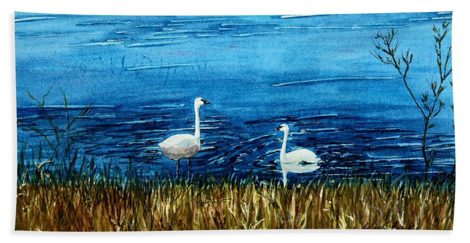 Swans Hand Towel featuring the painting Marion Lake Swans by Mary Benke