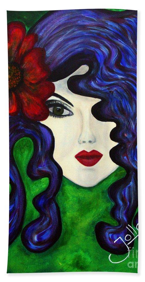 Queen Hand Towel featuring the painting Mariposa Fairy Queen by Jolanta Anna Karolska