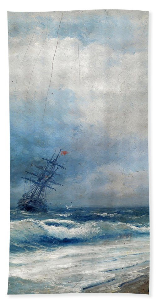 Ivan Konstantinovich Aivazovsky Hand Towel featuring the painting Maritime Scene by Ivan Konstantinovich Aivazovsky