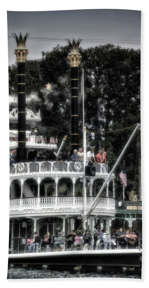 Disney Hand Towel featuring the photograph Mark Twain Riverboat Frontierland Disneyland Vertical Sc by Thomas Woolworth