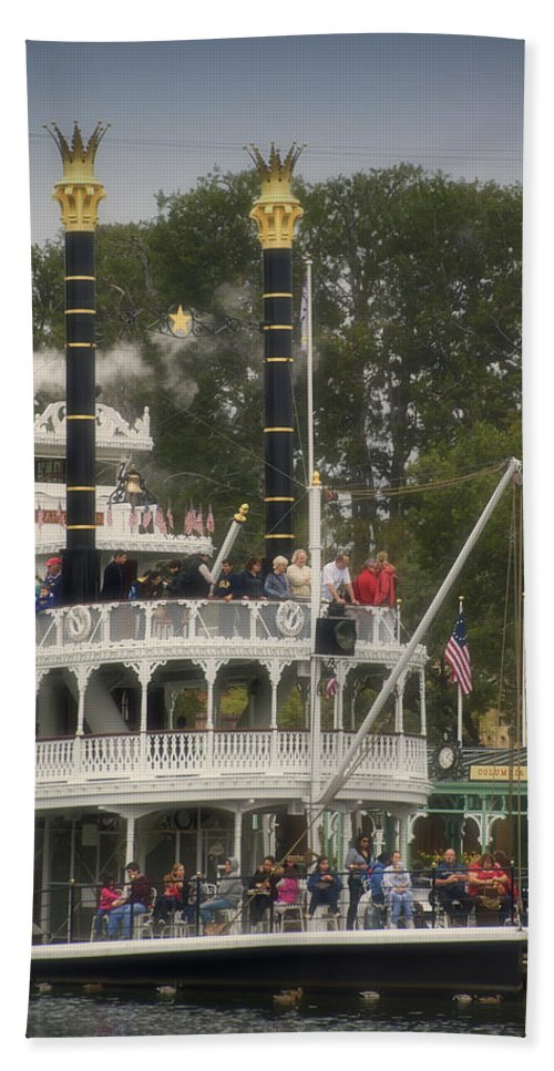 Disney Hand Towel featuring the photograph Mark Twain Riverboat Frontierland Disneyland Vertical by Thomas Woolworth