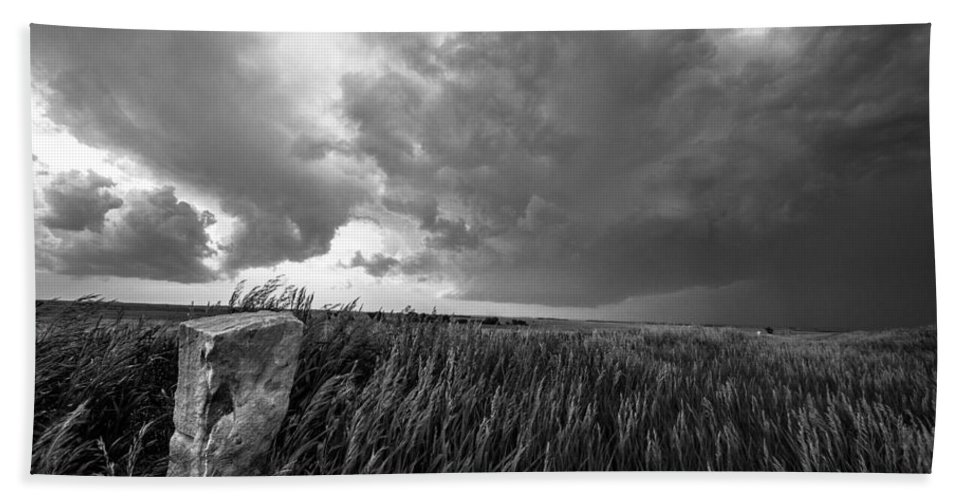 Black And White Hand Towel featuring the photograph Marker - Black And White Photo Of Stone Marker And Brewing Storm In Kansas by Southern Plains Photography
