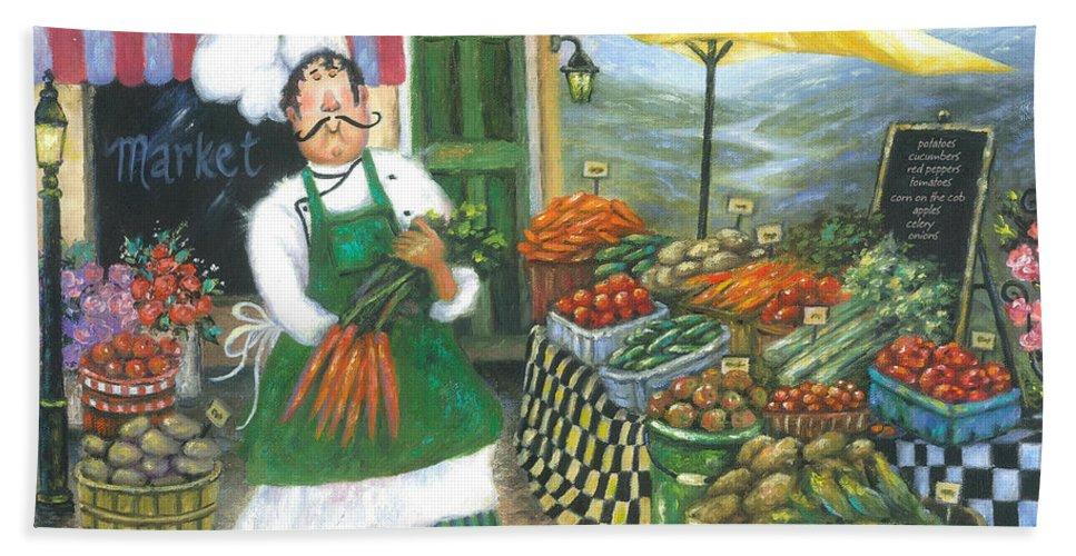 Chef Hand Towel featuring the painting Market Chef by Vickie Wade