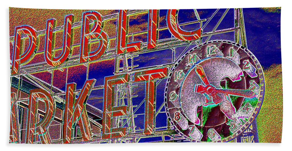 Seattle Bath Towel featuring the digital art Market Clock 1 by Tim Allen