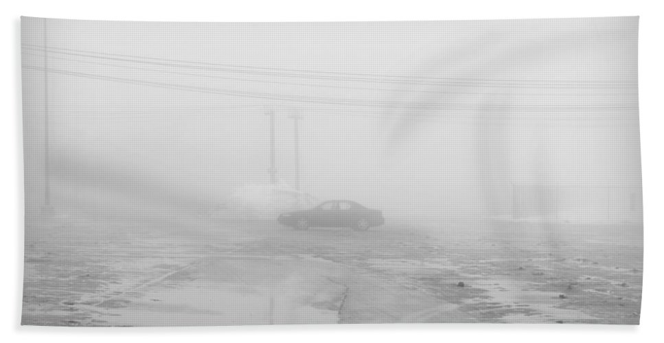 Marooned Hand Towel featuring the photograph Marooned In The Fog by Valentino Visentini