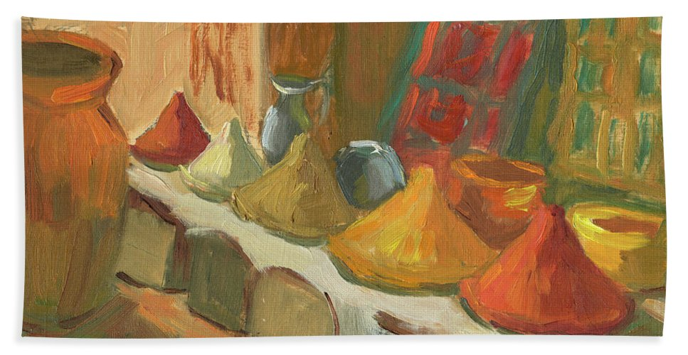 Marakesh Hand Towel featuring the painting Marrakesh Market by Diane McClary