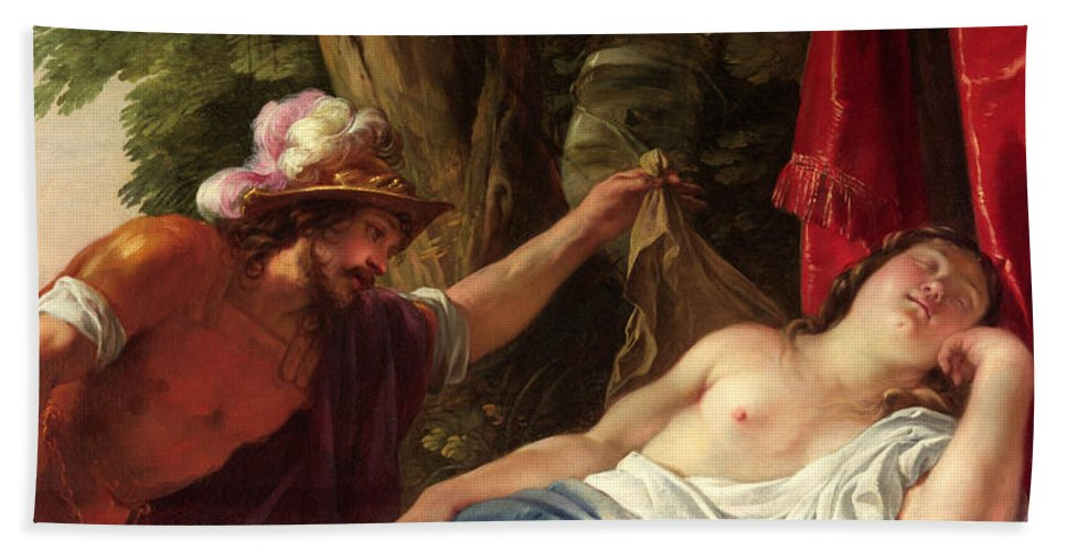 Jacques Blanchard Bath Sheet featuring the painting Mars And The Vestal Virgin by Jacques Blanchard