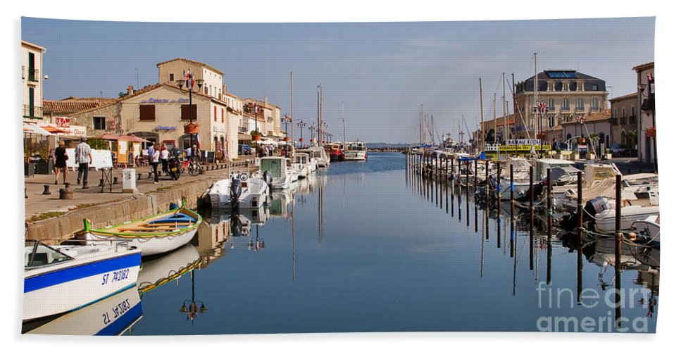 Travel Hand Towel featuring the photograph Marseillan Harbour by Louise Heusinkveld