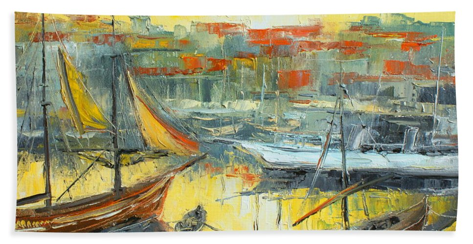 Marseille Bath Sheet featuring the painting Marseille Harbour by Luke Karcz