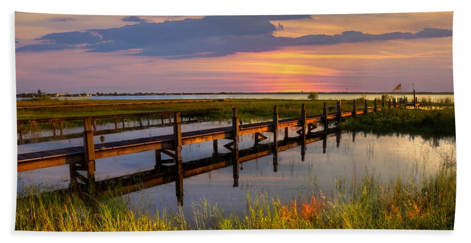 Clouds Hand Towel featuring the photograph Marsh Harbor by Debra and Dave Vanderlaan