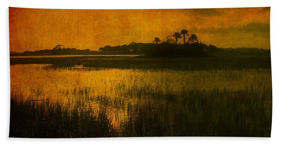 Marsh Scene Hand Towel featuring the photograph Marsh Island Sunset by Susanne Van Hulst