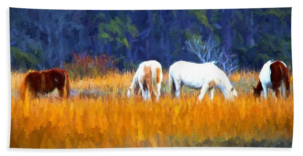 Chincoteague Ponies Hand Towel featuring the photograph Marsh Ponies by Alice Gipson