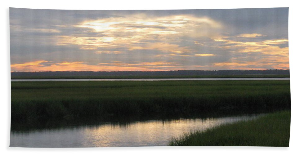 Marsh Hand Towel featuring the photograph Marsh Sunset 3 by Ellen Meakin
