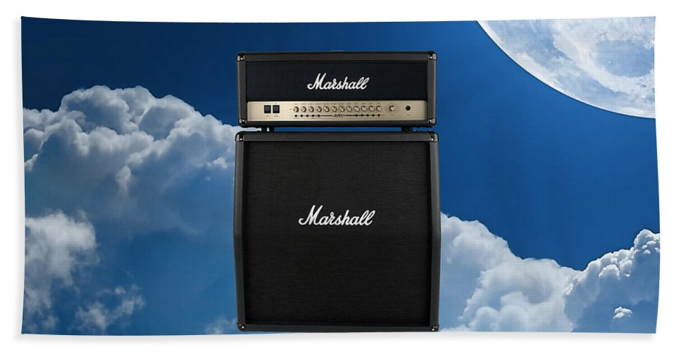 Marshall Bath Sheet featuring the mixed media Marshall Amp by Marvin Blaine