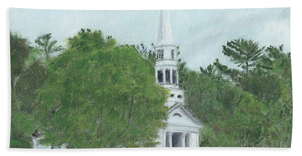 Green Hand Towel featuring the painting Martha Mary Chapel by Cliff Wilson