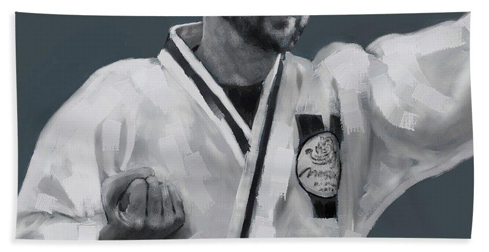 Figure Hand Towel featuring the digital art Martial Willie by Scott Bowlinger