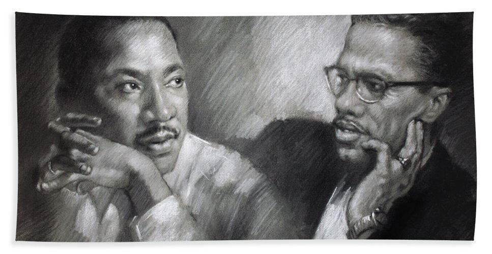 Malcolm X Bath Towel featuring the drawing Martin Luther King Jr and Malcolm X by Ylli Haruni