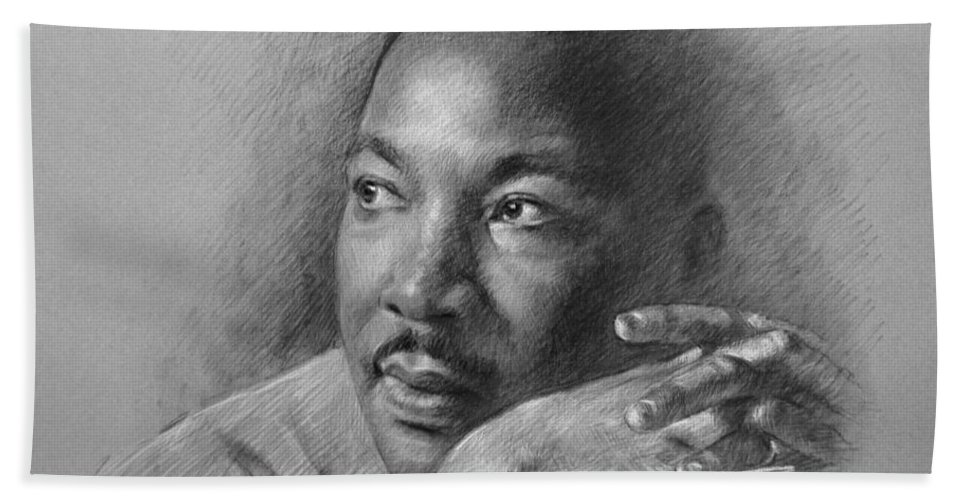 Portrait Bath Sheet featuring the drawing Martin Luther King Jr by Ylli Haruni