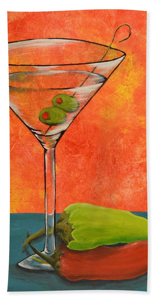 Martini Hand Towel featuring the painting Martini And Pepper by Meganne Peck