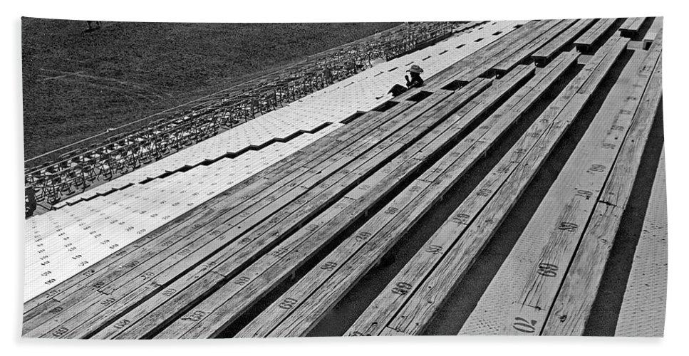 Marty Smith La Festa De Los Vaqueros Rodeo Tucson Arizona 1982 Black And White Cowboys Bleachers Bath Sheet featuring the photograph Marty Smith La Festa De Los Vaqueros Rodeo Tucson Arizona 1982 by David Lee Guss