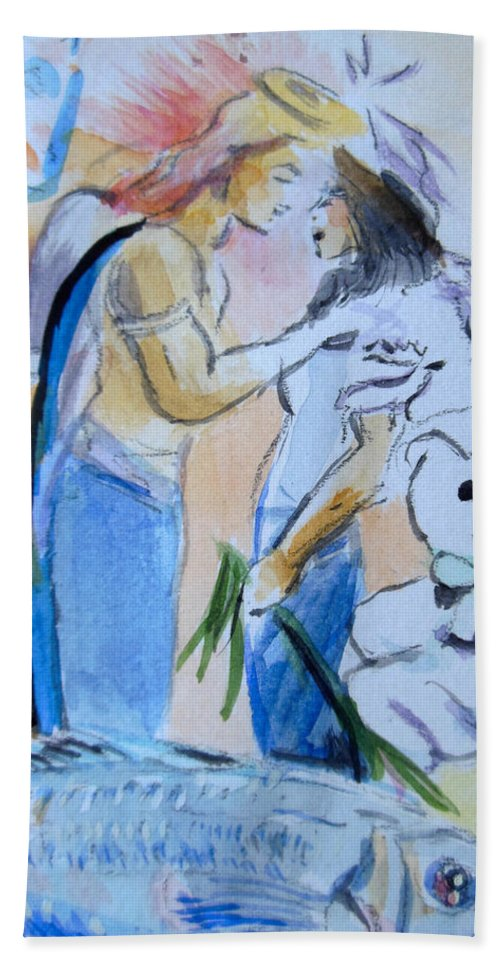 Mary And Gabriel Hand Towel featuring the painting Mary And Gabriel by Lucia Hoogervorst