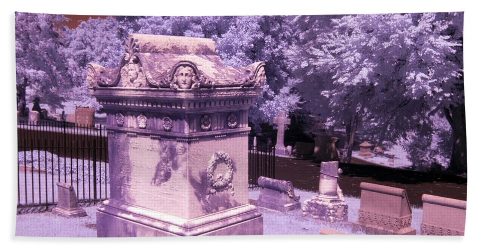 Near Bath Sheet featuring the photograph Mary And John Tyler Memorial Near Infrared Lavender And Pink by Sally Rockefeller
