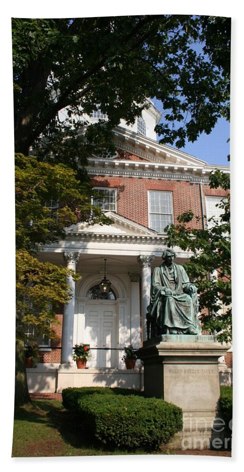 State House Hand Towel featuring the photograph Maryland State House And Statue by Christiane Schulze Art And Photography