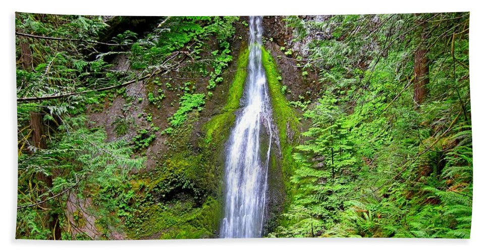 Waterfall Hand Towel featuring the photograph Marymere Falls - Full View by Lena Photo Art