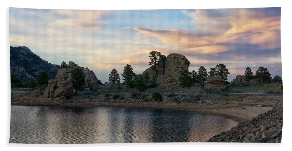 Sunset Bath Sheet featuring the photograph Mary's Lake by Erika Weber