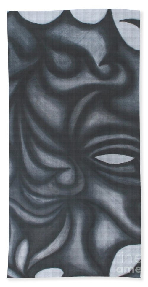 Black And Whit Bath Sheet featuring the drawing Mask by Jamie Lynn