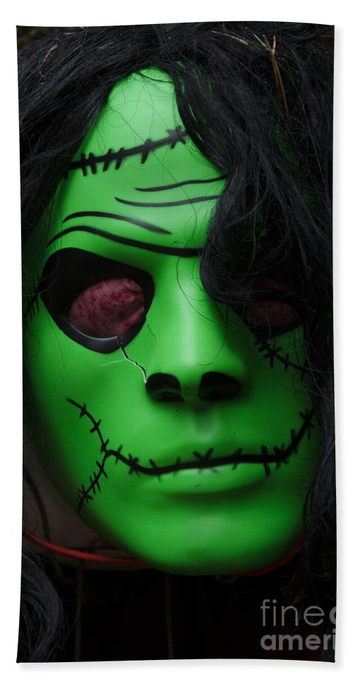 Mask Bath Sheet featuring the photograph Masks Fright Night 4 by Bob Christopher
