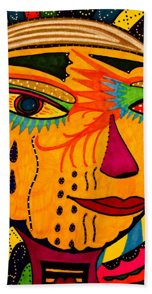 Mask Bath Towel featuring the painting Masks We Wear - Face by Marie Jamieson