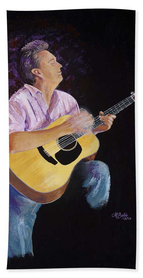 Music Bath Sheet featuring the painting Master In The Spotlight by Margaret Bobb