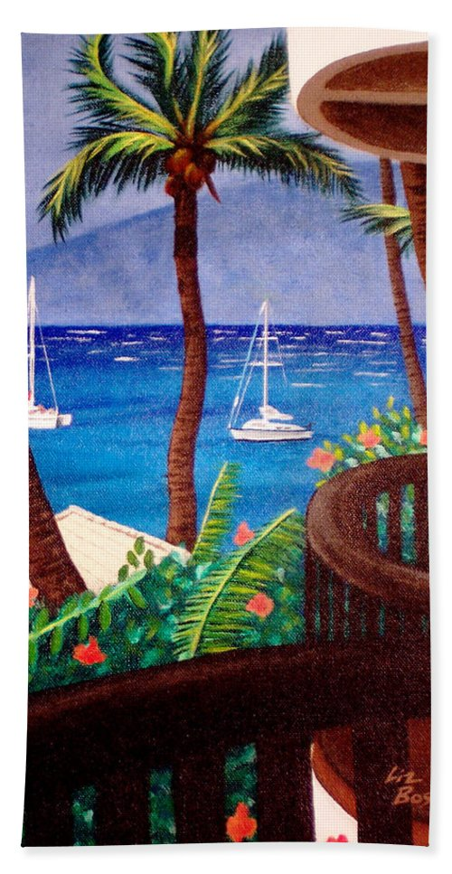 Hawaii Bath Sheet featuring the painting Maui by Liz Boston