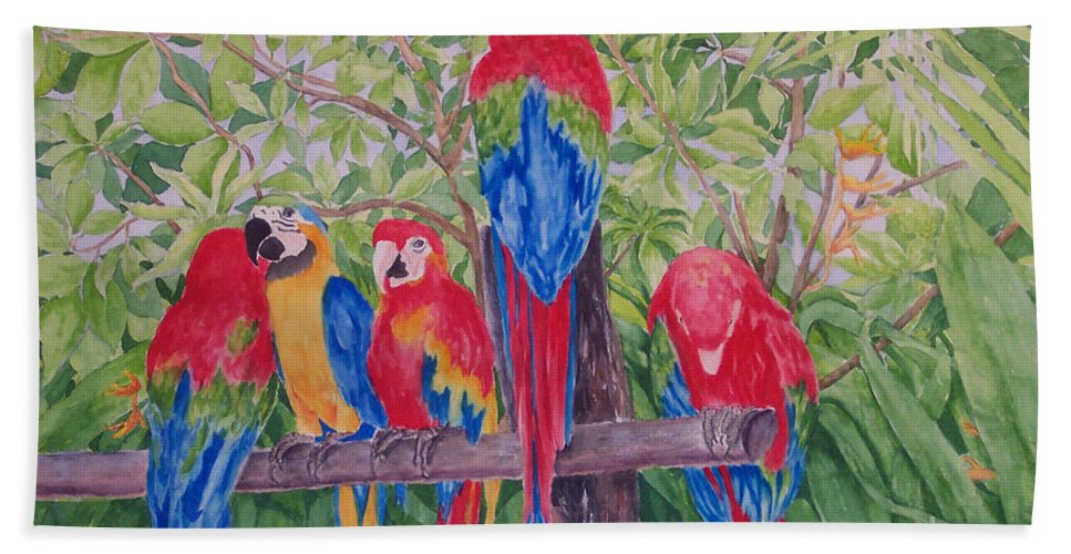 Macaw Hand Towel featuring the painting Maui Macaws by Rhonda Leonard