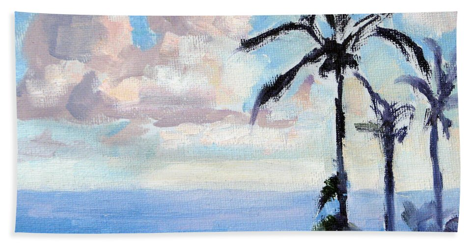 Hawaii Hand Towel featuring the painting Maui Palms by Karin Leonard