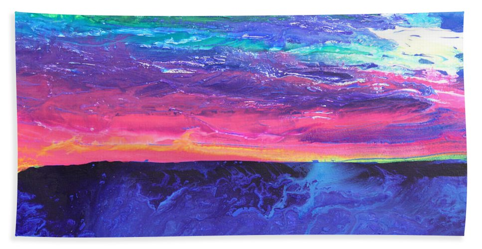Fusionart Bath Sheet featuring the painting Maui Sunset by Ralph White