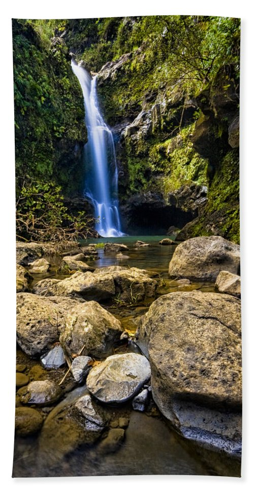 3scape Photos Bath Towel featuring the photograph Maui Waterfall by Adam Romanowicz