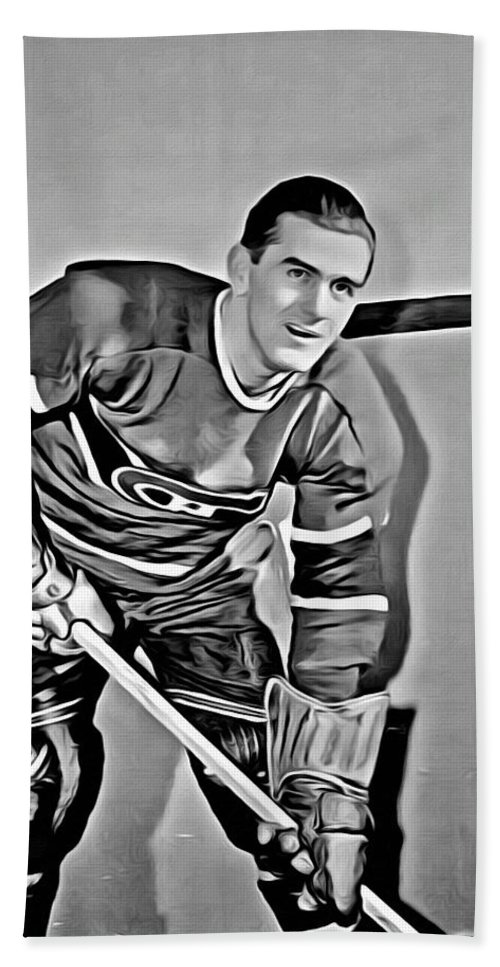Maurice Richard Hand Towel featuring the painting Maurice Richard by Florian Rodarte