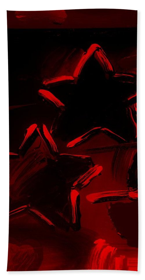 Modern Bath Sheet featuring the photograph Max Two Stars In Red by Rob Hans