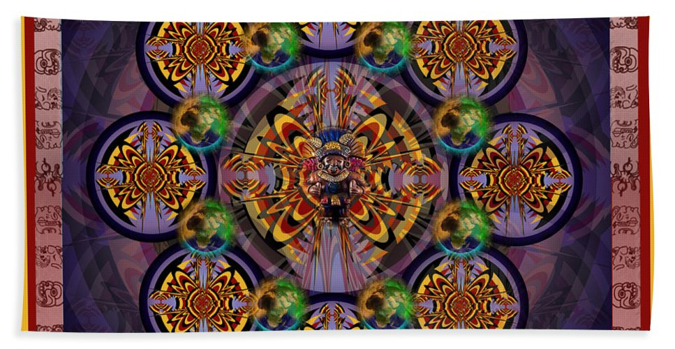 Fantasy Bath Sheet featuring the digital art Mayan Calendars by George Pasini
