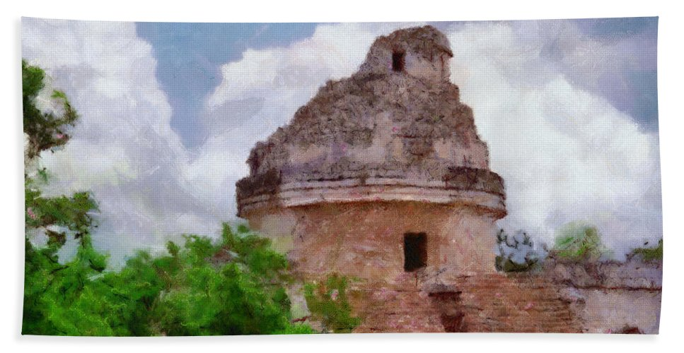 Yucatan Bath Sheet featuring the painting Mayan Observatory by Jeffrey Kolker