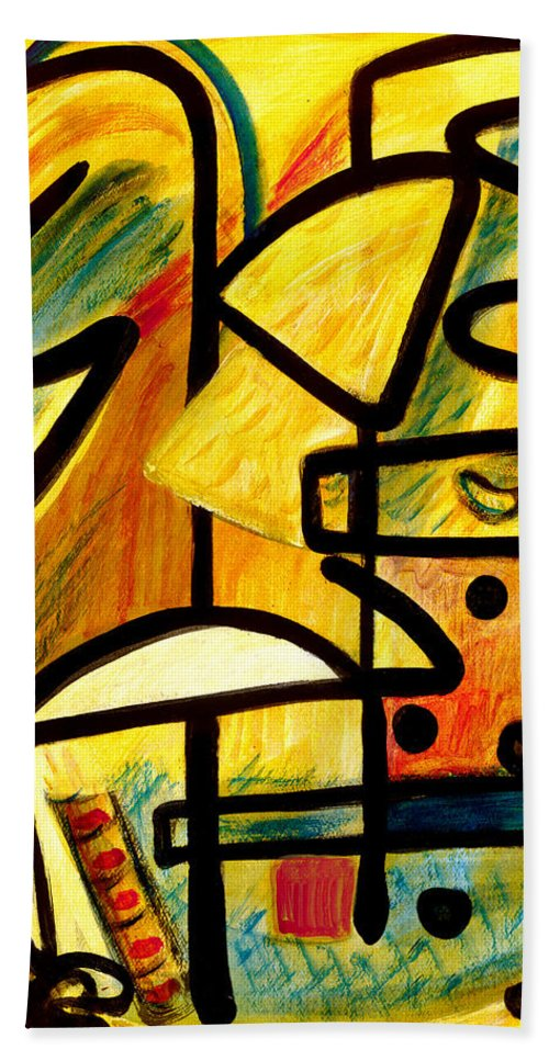 Abstract Art Hand Towel featuring the painting Mayan by Stephen Lucas