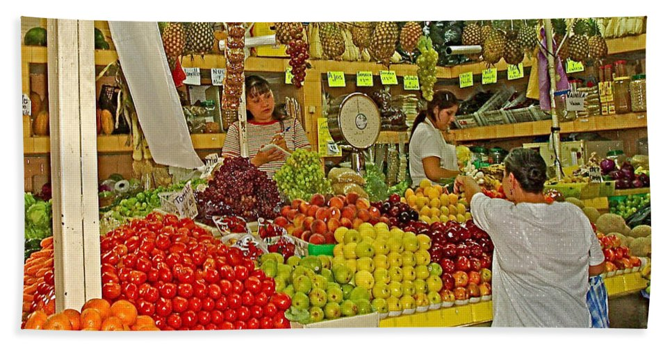 Mazatlan Centro Market Hand Towel featuring the photograph Mazatlan Centro Market-sinaloa by Ruth Hager