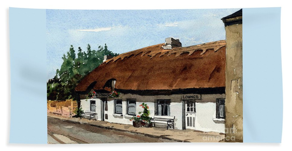 Val Byrne Bath Towel featuring the painting F 709 Mcdonaghs Pub Oranmore Galway by Val Byrne