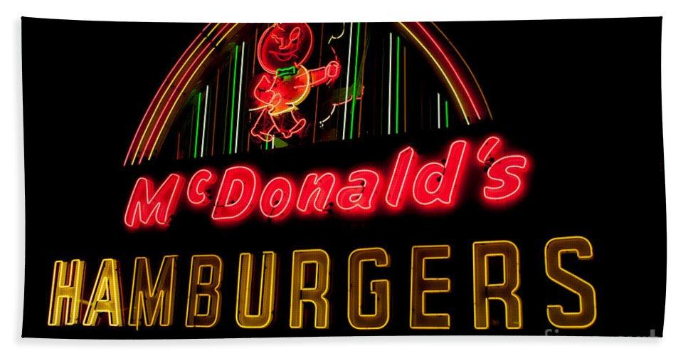 Hamburgers Bath Sheet featuring the photograph Mcdonalds Sign by Ronald Grogan