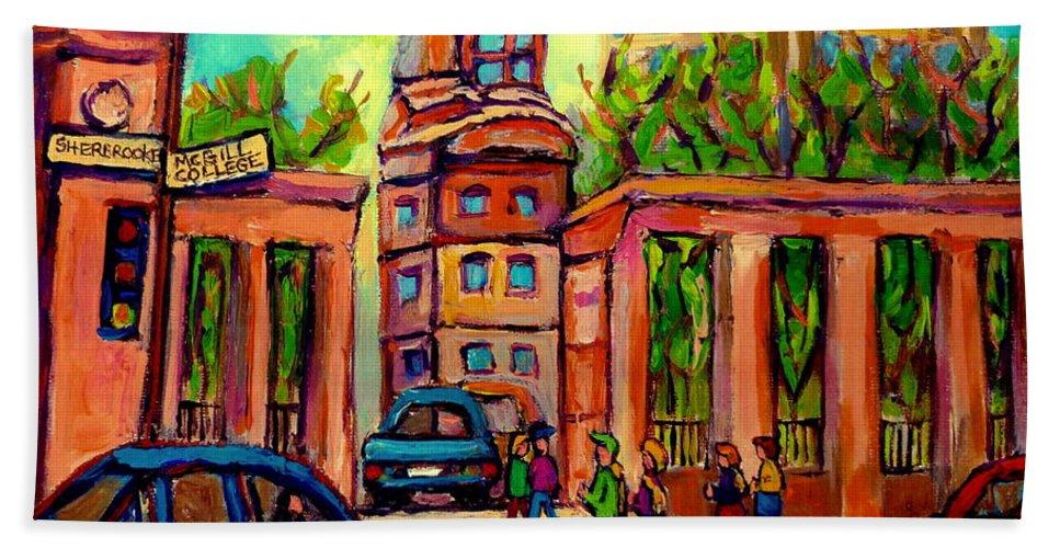 Mcgill University Hand Towel featuring the painting Mcgill University Roddick Gates Montreal by Carole Spandau